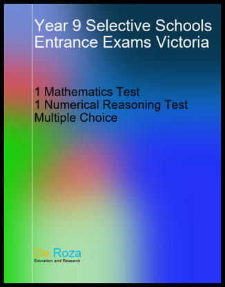 VIC Set of 1 Mathematics Test and 1 Numerical Reasoning Test - Yr 8 for Yr 9 Selective School Entrance