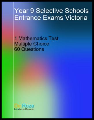 VIC Single Mathematics Test - Yr 8 for Yr 9 Selective School Entrance